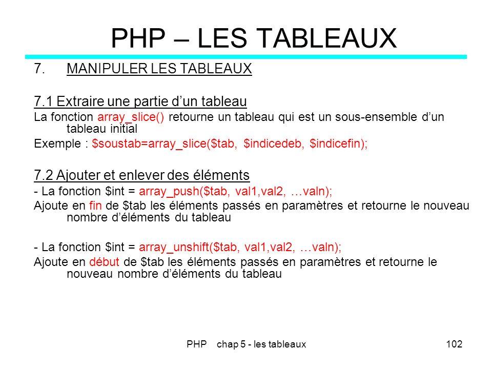 PHP chap 5 - les tableaux102 PHP – LES TABLEAUX 7.MANIPULER LES TABLEAUX 7.1 Extraire une partie dun tableau La fonction array_slice() retourne un tab