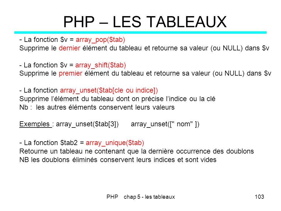 PHP chap 5 - les tableaux103 PHP – LES TABLEAUX - La fonction $v = array_pop($tab) Supprime le dernier élément du tableau et retourne sa valeur (ou NU