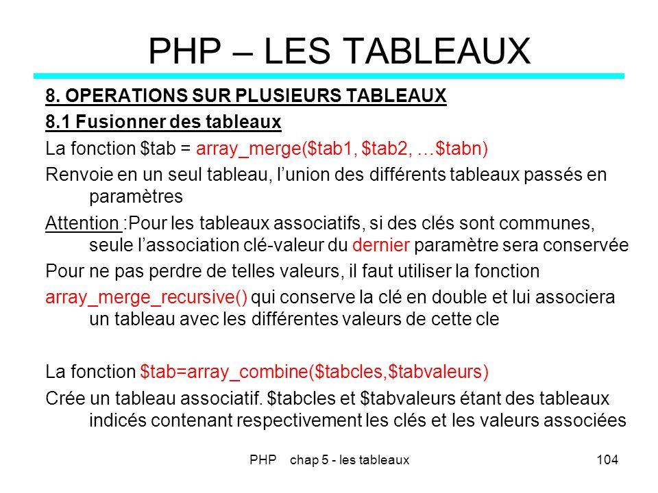 PHP chap 5 - les tableaux104 PHP – LES TABLEAUX 8. OPERATIONS SUR PLUSIEURS TABLEAUX 8.1 Fusionner des tableaux La fonction $tab = array_merge($tab1,