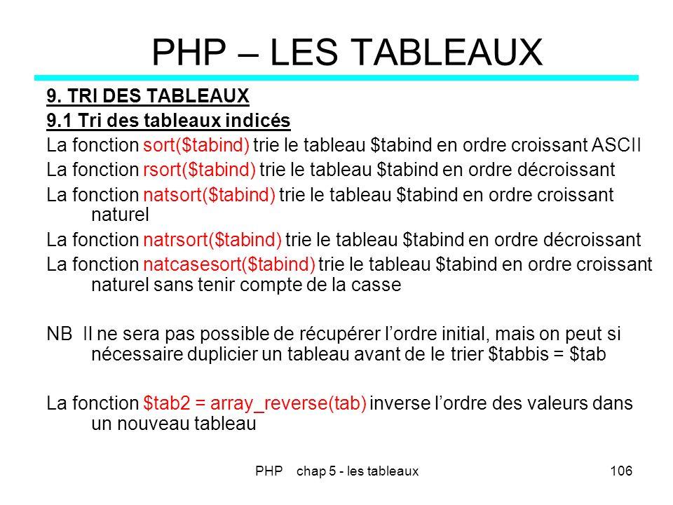 PHP chap 5 - les tableaux106 PHP – LES TABLEAUX 9. TRI DES TABLEAUX 9.1 Tri des tableaux indicés La fonction sort($tabind) trie le tableau $tabind en