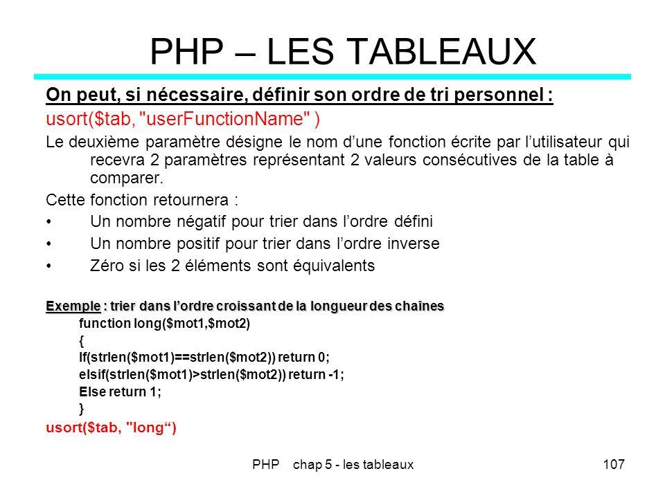 PHP chap 5 - les tableaux107 PHP – LES TABLEAUX On peut, si nécessaire, définir son ordre de tri personnel : usort($tab,