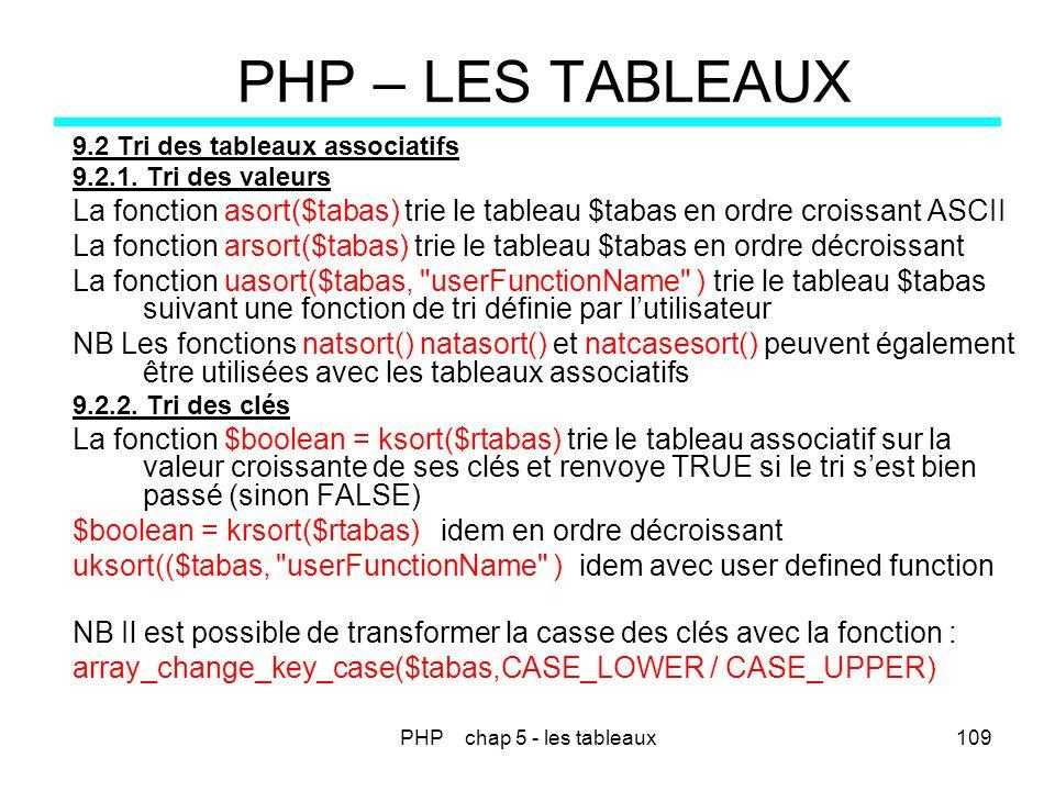 PHP chap 5 - les tableaux109 PHP – LES TABLEAUX 9.2 Tri des tableaux associatifs 9.2.1. Tri des valeurs La fonction asort($tabas) trie le tableau $tab
