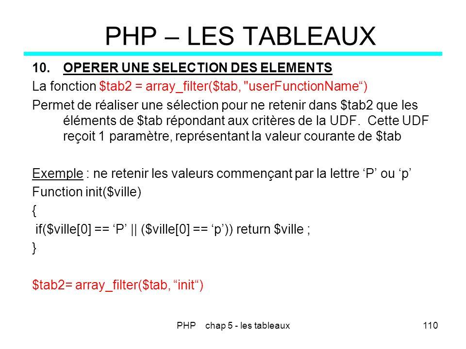 PHP chap 5 - les tableaux110 PHP – LES TABLEAUX 10.OPERER UNE SELECTION DES ELEMENTS La fonction $tab2 = array_filter($tab,