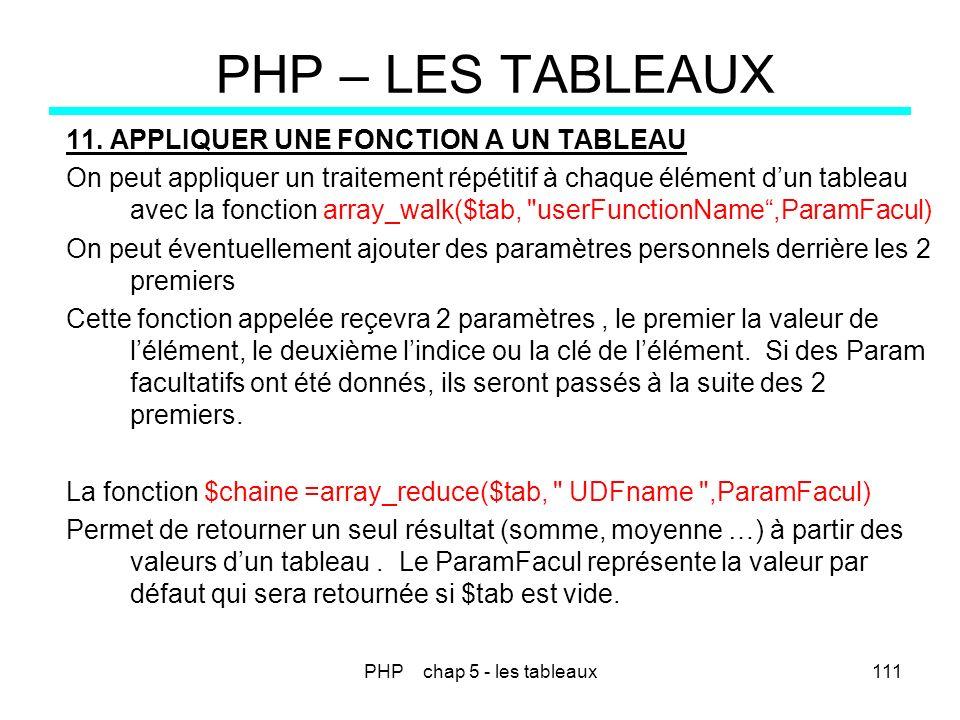 PHP chap 5 - les tableaux111 PHP – LES TABLEAUX 11. APPLIQUER UNE FONCTION A UN TABLEAU On peut appliquer un traitement répétitif à chaque élément dun