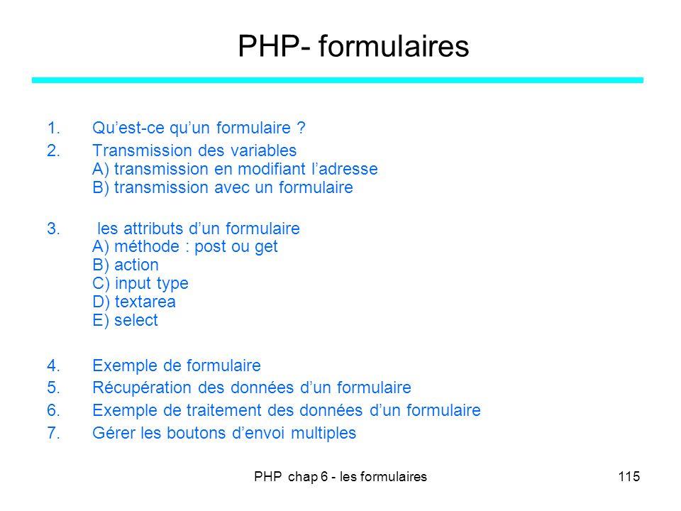 PHP chap 6 - les formulaires115 PHP- formulaires 1.Quest-ce quun formulaire ? 2.Transmission des variables A) transmission en modifiant ladresse B) tr