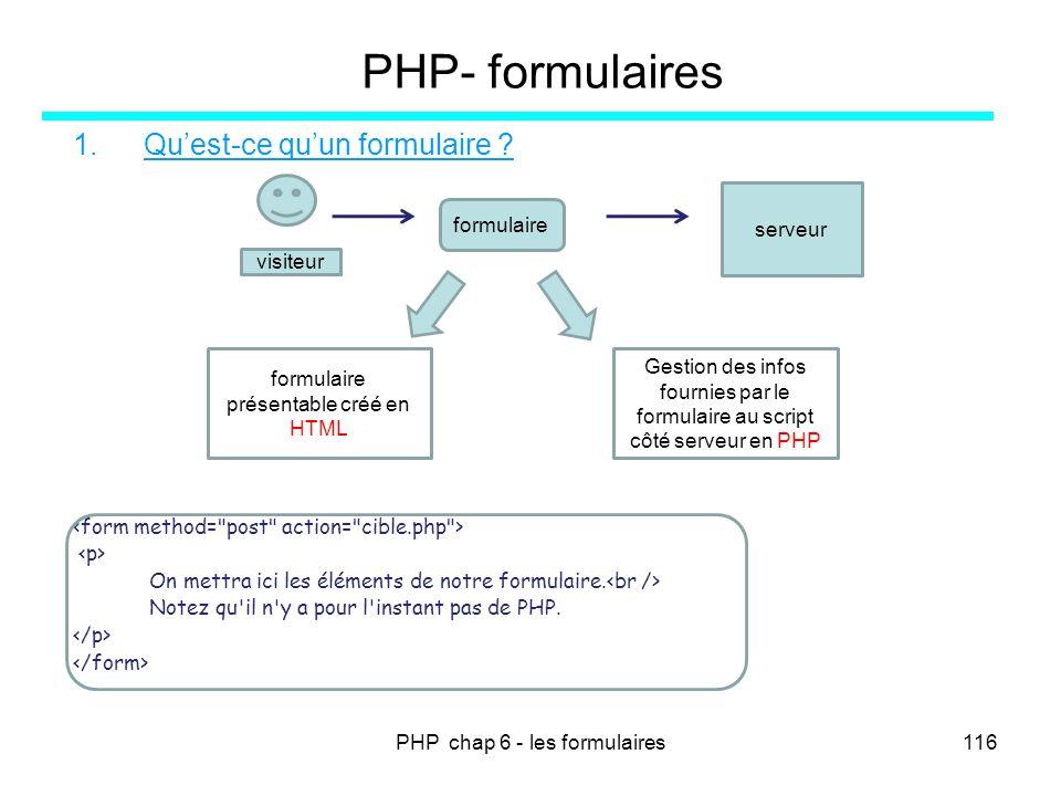 PHP chap 6 - les formulaires116 PHP- formulaires 1.Quest-ce quun formulaire ? On mettra ici les éléments de notre formulaire. Notez qu'il n'y a pour l