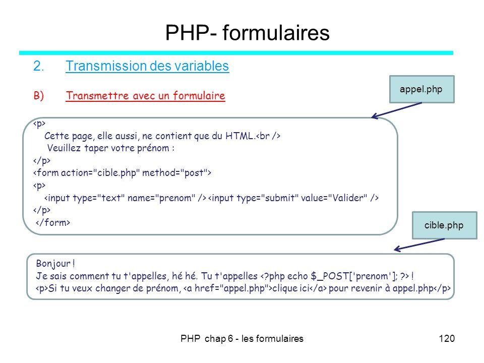 PHP chap 6 - les formulaires120 PHP- formulaires 2.Transmission des variables B)Transmettre avec un formulaire Cette page, elle aussi, ne contient que