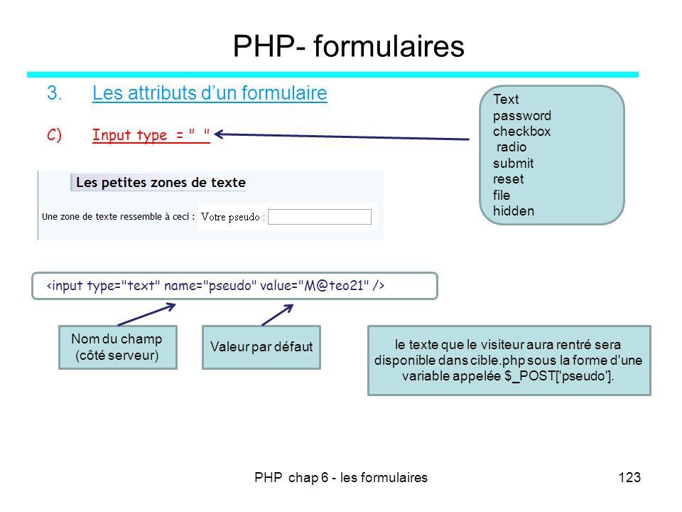 PHP chap 6 - les formulaires123 PHP- formulaires 3.Les attributs dun formulaire C)Input type =
