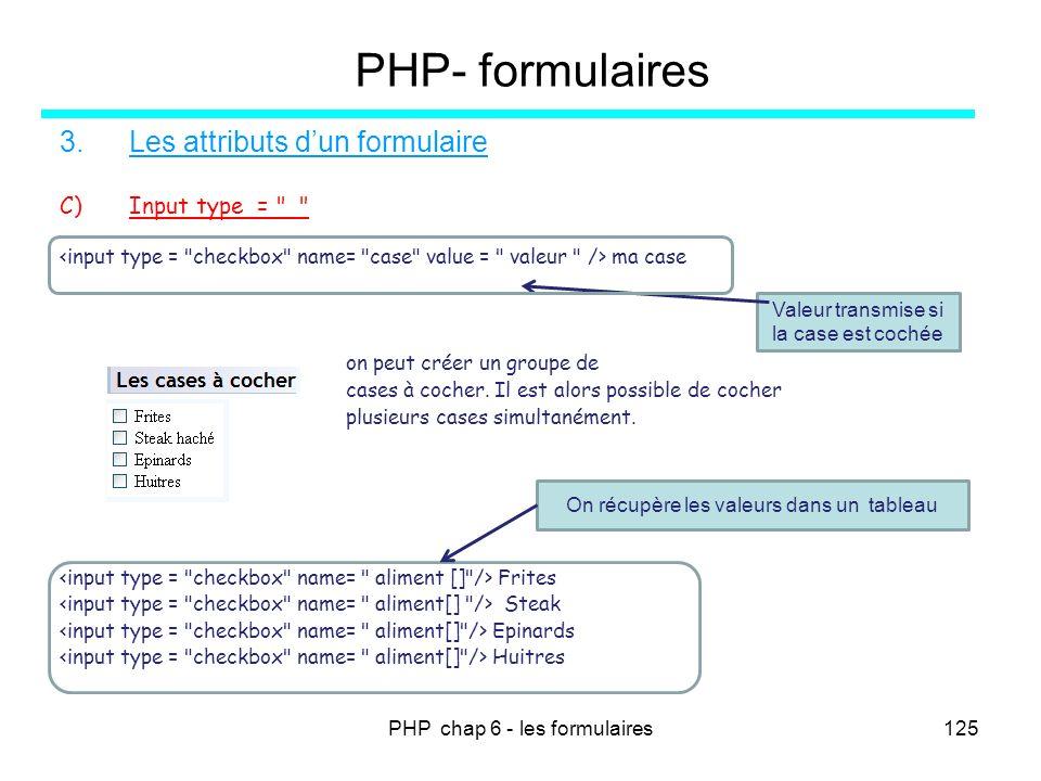 PHP chap 6 - les formulaires125 PHP- formulaires 3.Les attributs dun formulaire C)Input type =