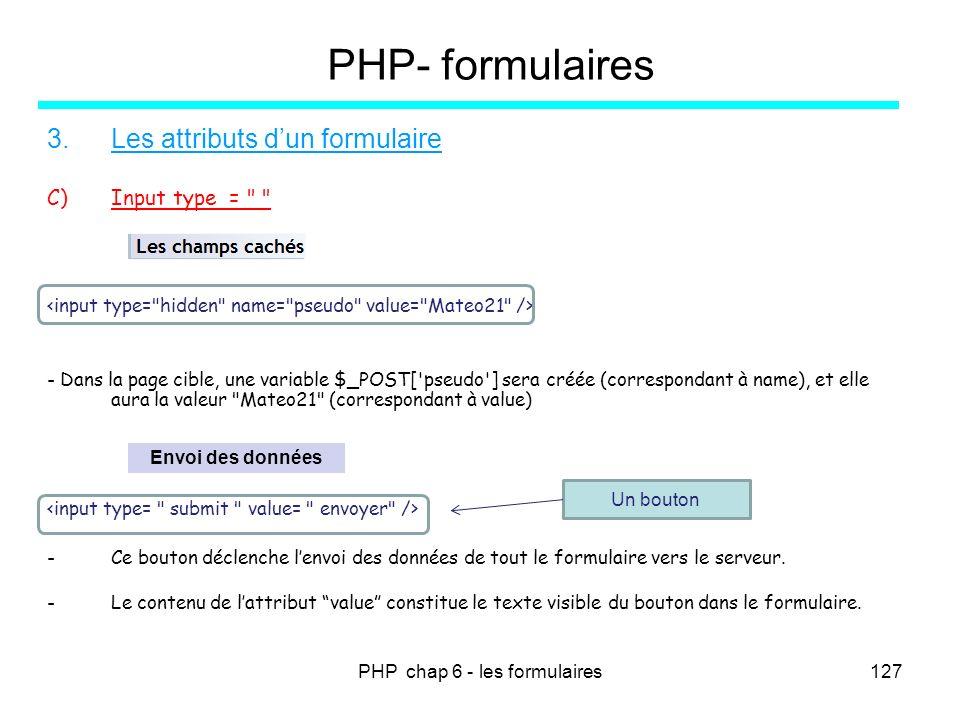 PHP chap 6 - les formulaires127 PHP- formulaires 3.Les attributs dun formulaire C)Input type =