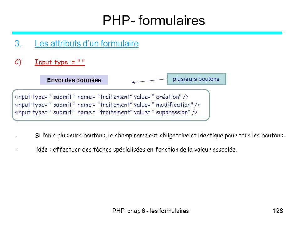 PHP chap 6 - les formulaires128 PHP- formulaires 3.Les attributs dun formulaire C)Input type =