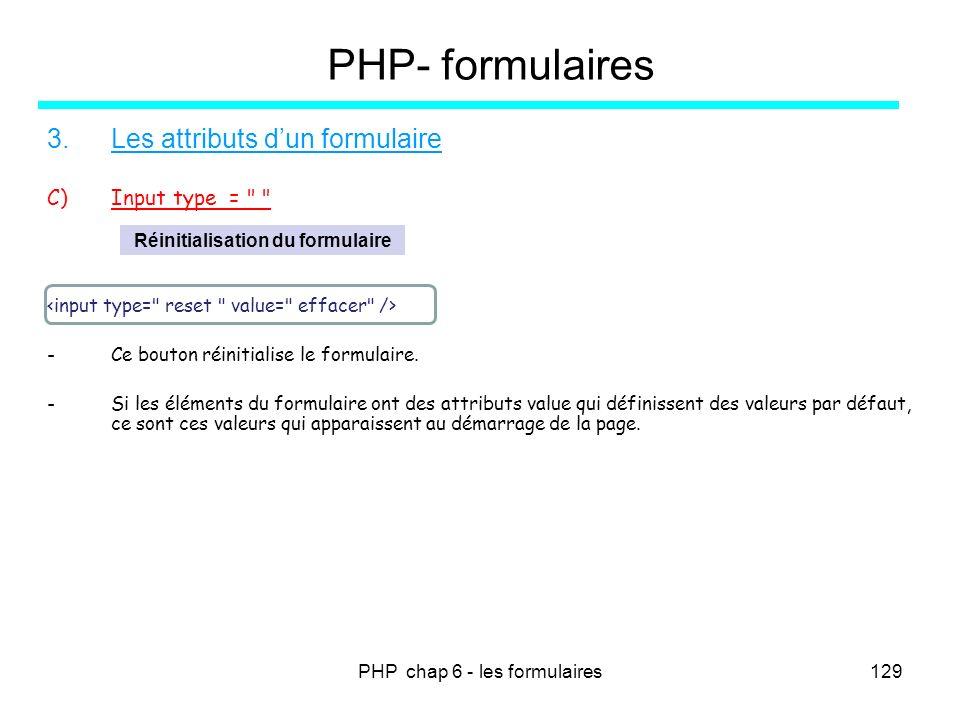 PHP chap 6 - les formulaires129 PHP- formulaires 3.Les attributs dun formulaire C)Input type =