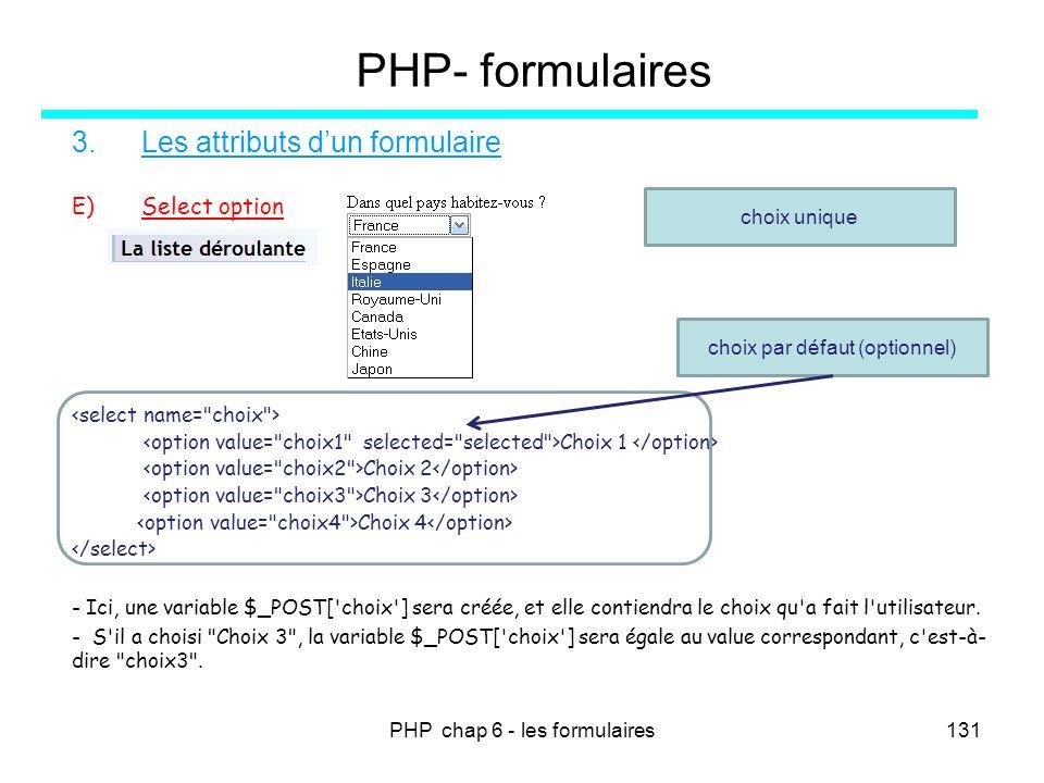 PHP chap 6 - les formulaires131 PHP- formulaires 3.Les attributs dun formulaire E)Select option Choix 1 Choix 2 Choix 3 Choix 4 - Ici, une variable $_