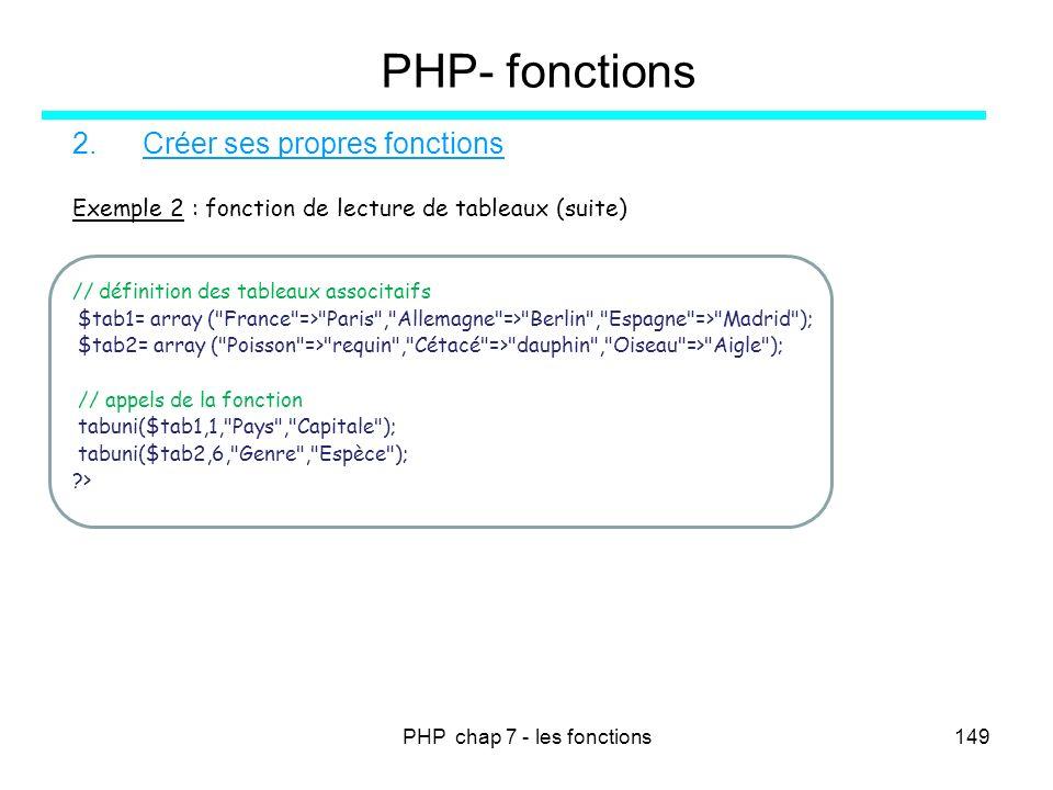 PHP chap 7 - les fonctions149 PHP- fonctions 2.Créer ses propres fonctions Exemple 2 : fonction de lecture de tableaux (suite) // définition des table