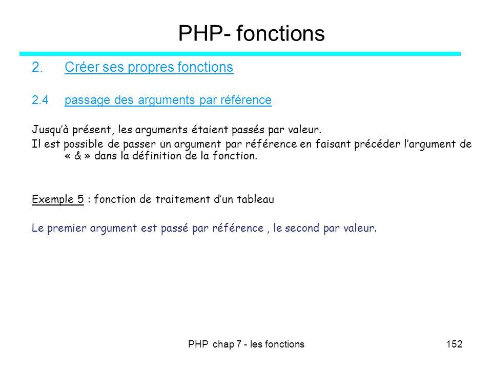 PHP chap 7 - les fonctions152 PHP- fonctions 2.Créer ses propres fonctions 2.4passage des arguments par référence Jusquà présent, les arguments étaien