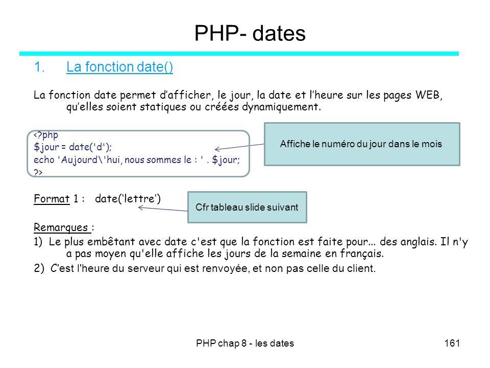 PHP chap 8 - les dates161 PHP- dates 1.La fonction date() La fonction date permet dafficher, le jour, la date et lheure sur les pages WEB, quelles soi