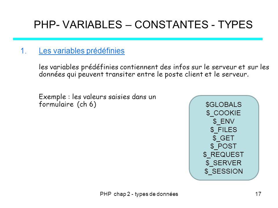 PHP chap 2 - types de données PHP- VARIABLES – CONSTANTES - TYPES 1.Les variables prédéfinies les variables prédéfinies contiennent des infos sur le s