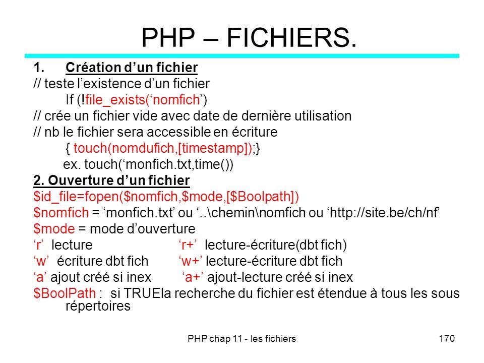 PHP chap 11 - les fichiers170 PHP – FICHIERS. 1.Création dun fichier // teste lexistence dun fichier If (!file_exists(nomfich) // crée un fichier vide
