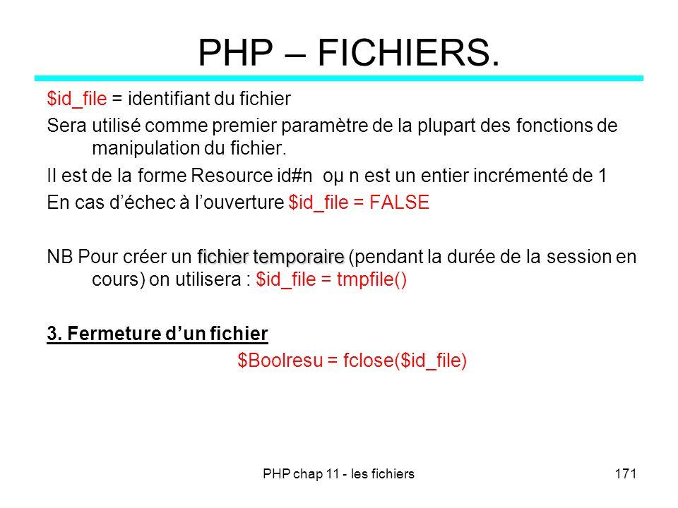 PHP chap 11 - les fichiers171 PHP – FICHIERS. $id_file = identifiant du fichier Sera utilisé comme premier paramètre de la plupart des fonctions de ma