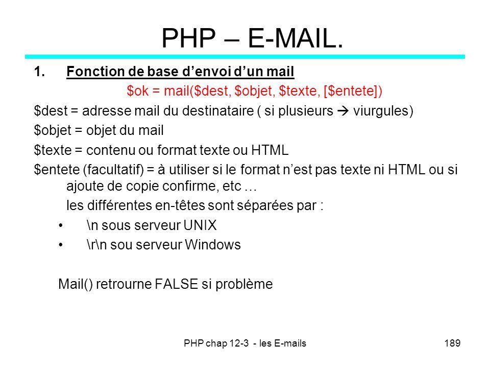 PHP chap 12-3 - les E-mails189 PHP – E-MAIL. 1.Fonction de base denvoi dun mail $ok = mail($dest, $objet, $texte, [$entete]) $dest = adresse mail du d