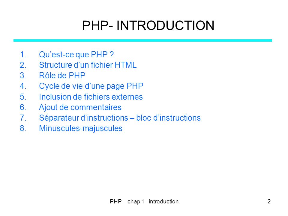 PHP- INTRODUCTION 1.Quest-ce que PHP ? 2.Structure dun fichier HTML 3.Rôle de PHP 4.Cycle de vie dune page PHP 5.Inclusion de fichiers externes 6.Ajou
