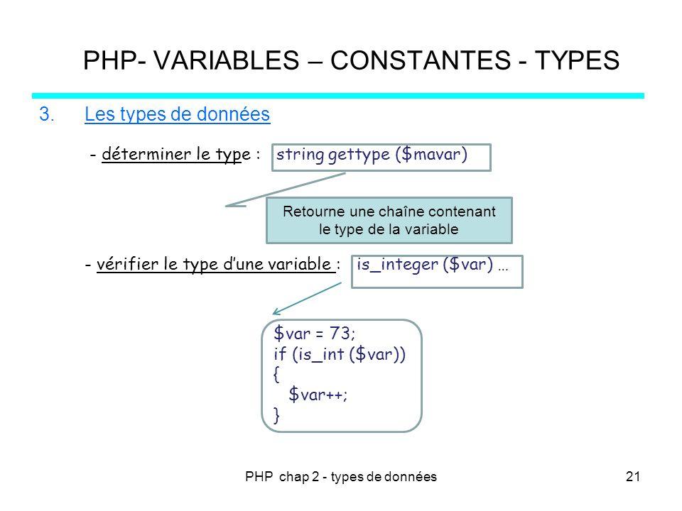 PHP chap 2 - types de données PHP- VARIABLES – CONSTANTES - TYPES 3.Les types de données - déterminer le type : string gettype ($mavar) - vérifier le