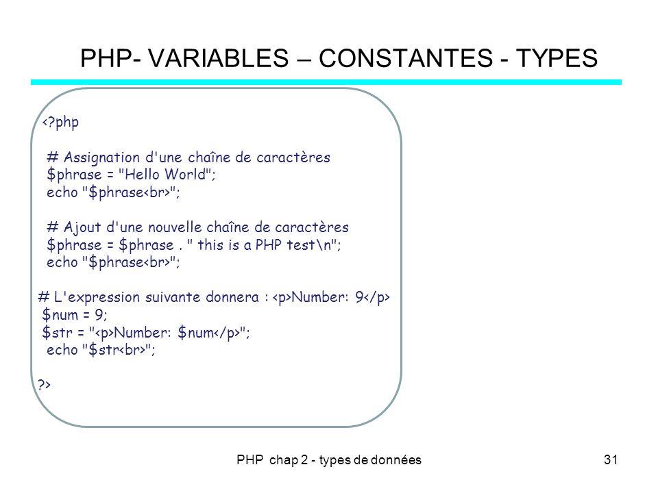 PHP chap 2 - types de données PHP- VARIABLES – CONSTANTES - TYPES <?php # Assignation d'une chaîne de caractères $phrase =