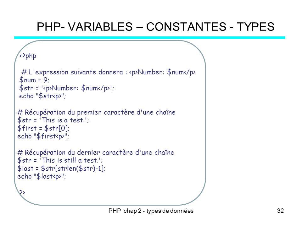PHP chap 2 - types de données PHP- VARIABLES – CONSTANTES - TYPES <?php # L'expression suivante donnera : Number: $num $num = 9; $str = ' Number: $num