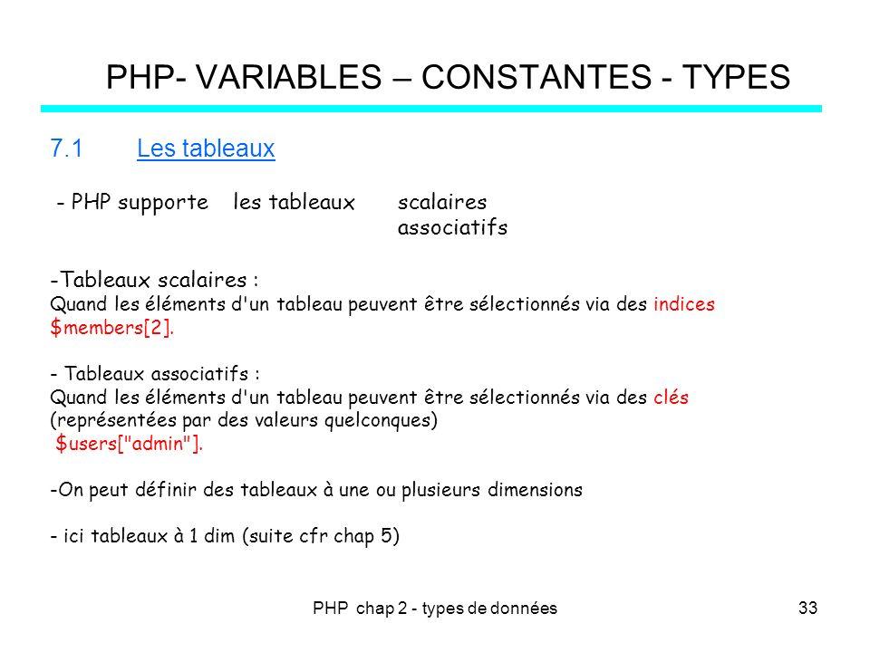 PHP chap 2 - types de données PHP- VARIABLES – CONSTANTES - TYPES 7.1Les tableaux - PHP supporte les tableaux scalaires associatifs -Tableaux scalaire