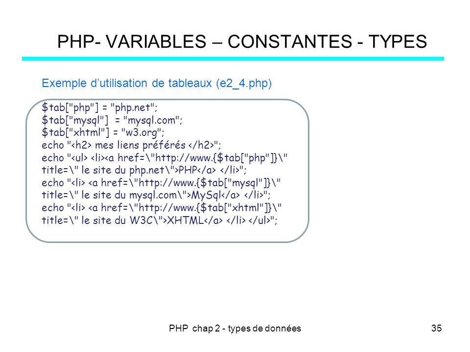 PHP chap 2 - types de données PHP- VARIABLES – CONSTANTES - TYPES $tab[