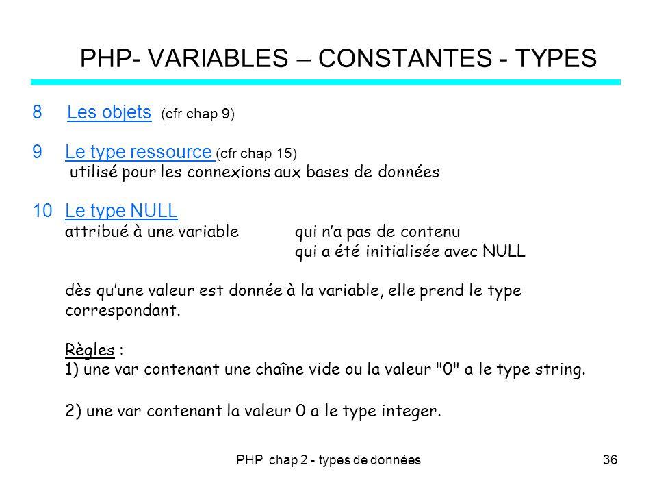 PHP chap 2 - types de données PHP- VARIABLES – CONSTANTES - TYPES 8 Les objets (cfr chap 9) 9Le type ressource (cfr chap 15) utilisé pour les connexio