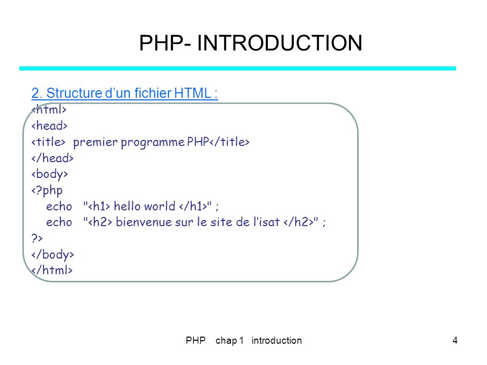 PHP chap 3 - instructions de contrôle 45 PHP- VARIABLES – CONSTANTES - TYPES 2.4La boucle foreach Utilisée pour parcourir lensemble des éléments dun tableau.