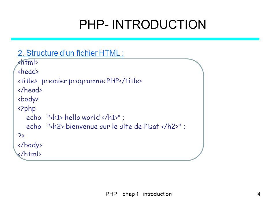 PHP chap 2 - types de données PHP- VARIABLES – CONSTANTES - TYPES 1.Les variables exemple e2_1.PHP <?php $name= Paul ; $Name= Pierre ; echo hello $name, ; echo où est $Name .