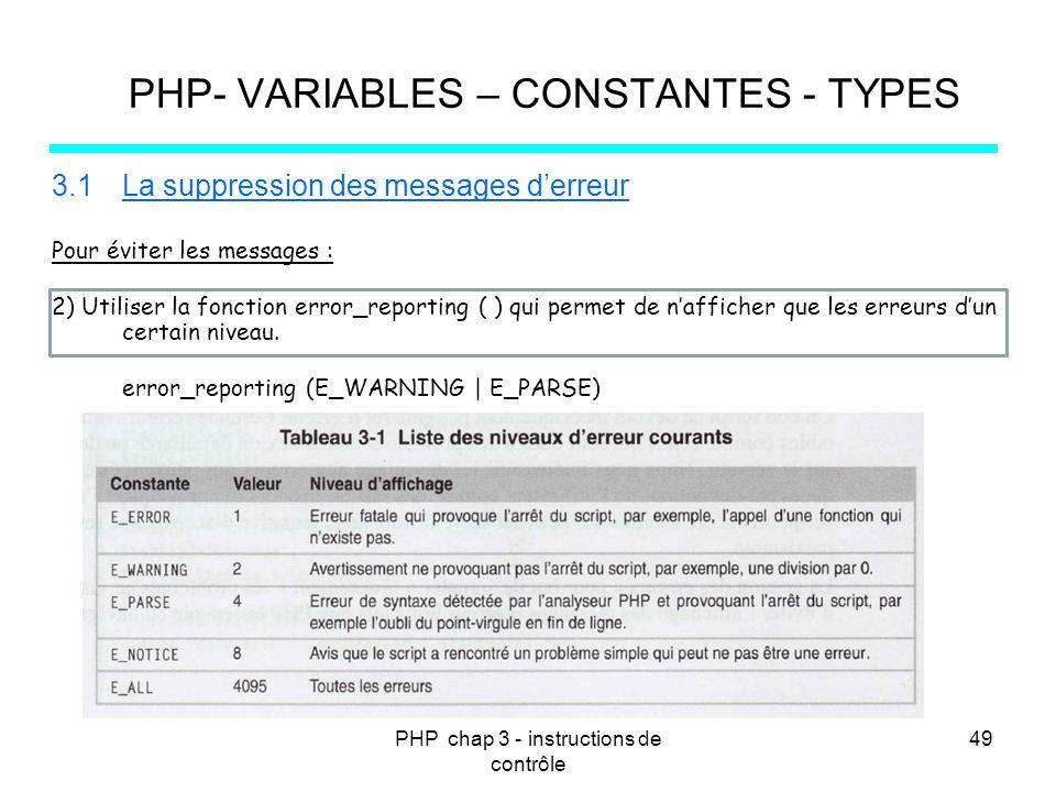 PHP chap 3 - instructions de contrôle 49 PHP- VARIABLES – CONSTANTES - TYPES 3.1La suppression des messages derreur Pour éviter les messages : 2) Util
