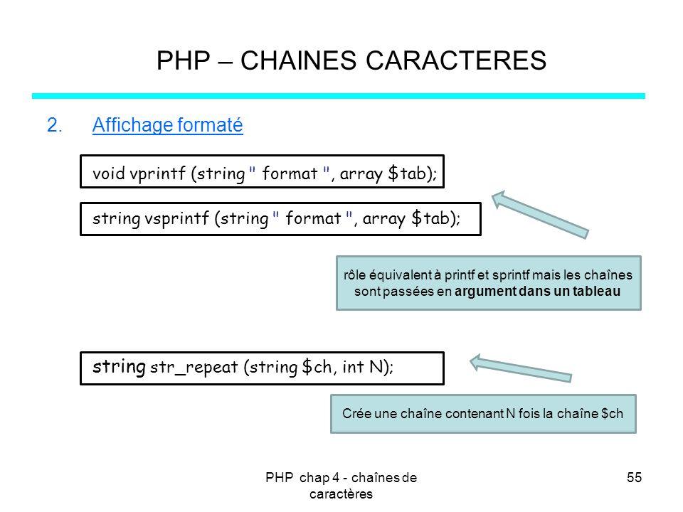 PHP chap 4 - chaînes de caractères 55 PHP – CHAINES CARACTERES 2.Affichage formaté void vprintf (string