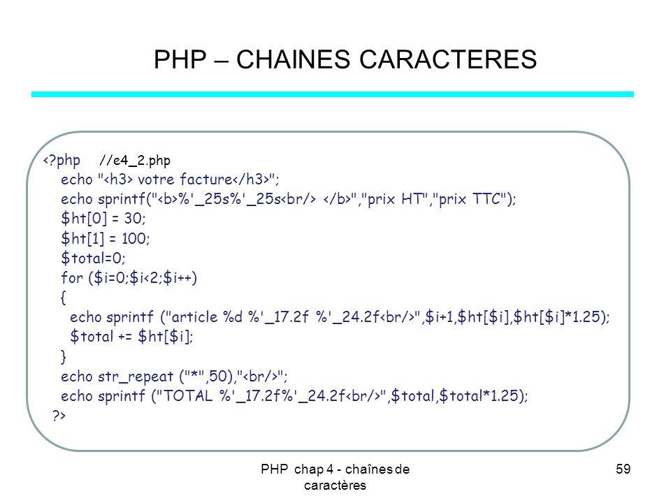 PHP chap 4 - chaînes de caractères 59 PHP – CHAINES CARACTERES <?php //e4_2.php echo