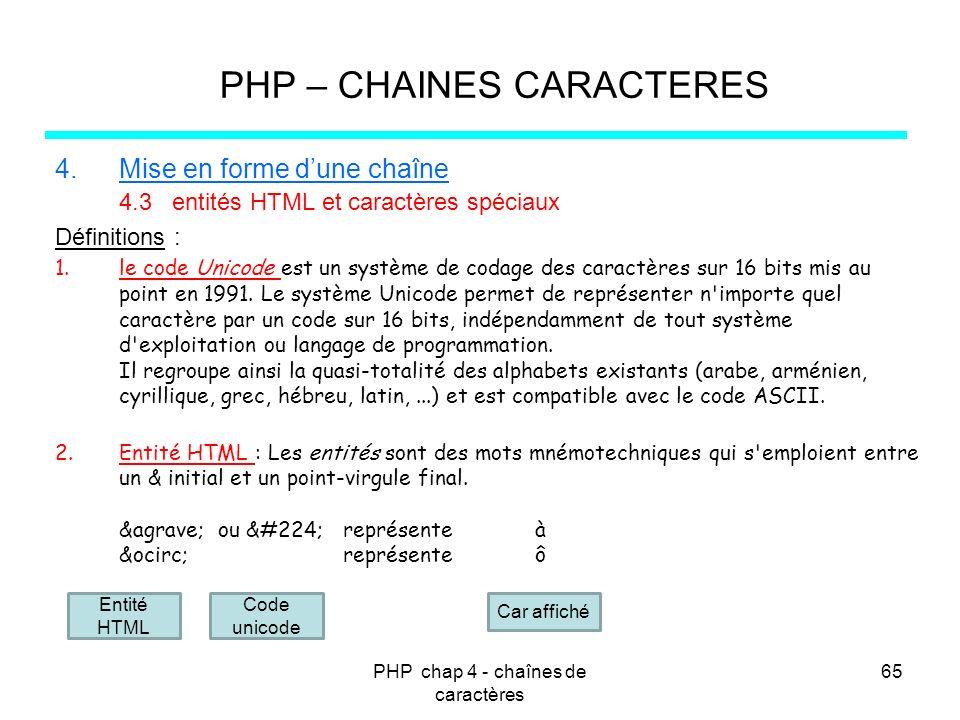 PHP chap 4 - chaînes de caractères 65 PHP – CHAINES CARACTERES 4.Mise en forme dune chaîne 4.3 entités HTML et caractères spéciaux Définitions : 1.le