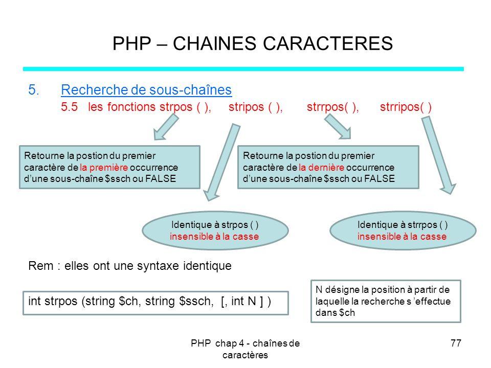 PHP chap 4 - chaînes de caractères 77 PHP – CHAINES CARACTERES 5.Recherche de sous-chaînes 5.5 les fonctions strpos ( ), stripos ( ), strrpos( ), strr