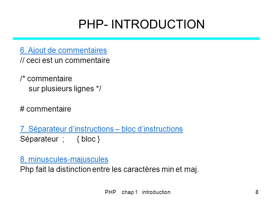 PHP- INTRODUCTION premier programme PHP <?php $name= Paul ; $Name= Pierre ; echo hello $name, ; echo où est $Name .