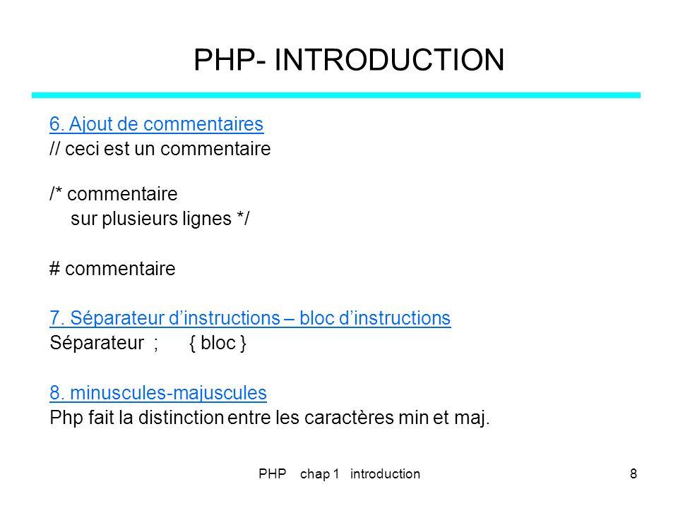 PHP chap 3 - instructions de contrôle 39 PHP- VARIABLES – CONSTANTES - TYPES <?php // e3_1.php $prix = 35; if ($prix > 100) { echo pour un achat de $prix &euro, la remise est de 15% ; $pnet = $prix * 0.85; echo le prix net est de $pnet ; } elseif ($prix > 50) { echo pour un achat de $prix &euro, la remise est de 1O% ; $pnet = $prix * 0.90; echo le prix net est de $pnet ; }