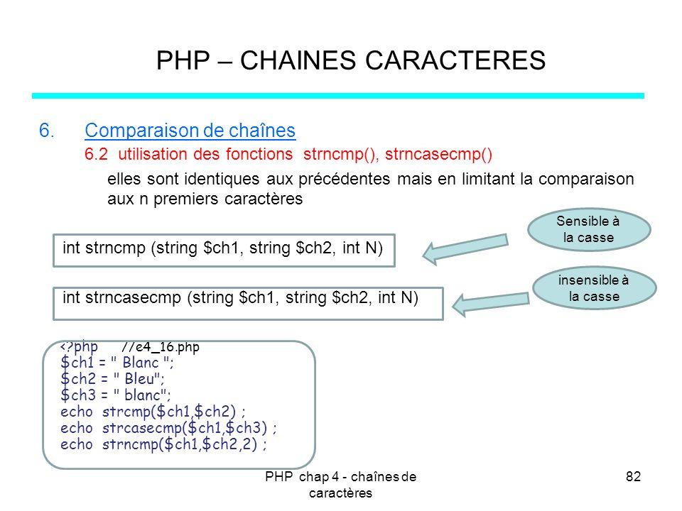 PHP chap 4 - chaînes de caractères 82 PHP – CHAINES CARACTERES 6.Comparaison de chaînes 6.2 utilisation des fonctions strncmp(), strncasecmp() elles s