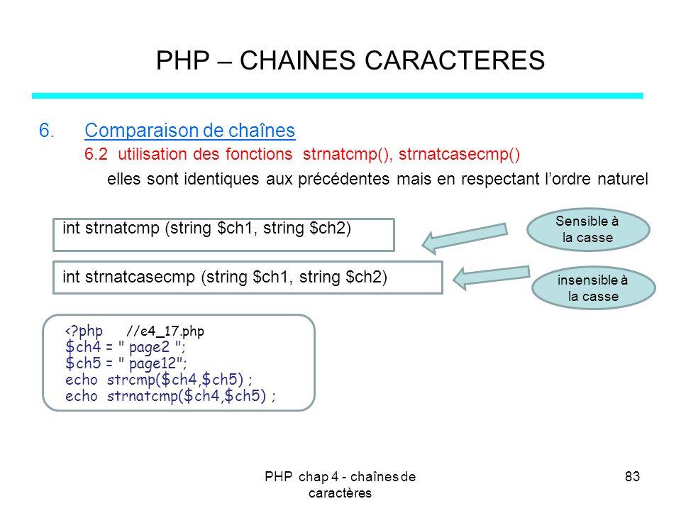 PHP chap 4 - chaînes de caractères 83 PHP – CHAINES CARACTERES 6.Comparaison de chaînes 6.2 utilisation des fonctions strnatcmp(), strnatcasecmp() ell