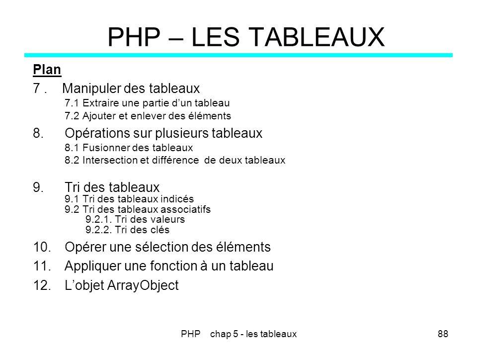 PHP chap 5 - les tableaux88 PHP – LES TABLEAUX Plan 7. Manipuler des tableaux 7.1 Extraire une partie dun tableau 7.2 Ajouter et enlever des éléments