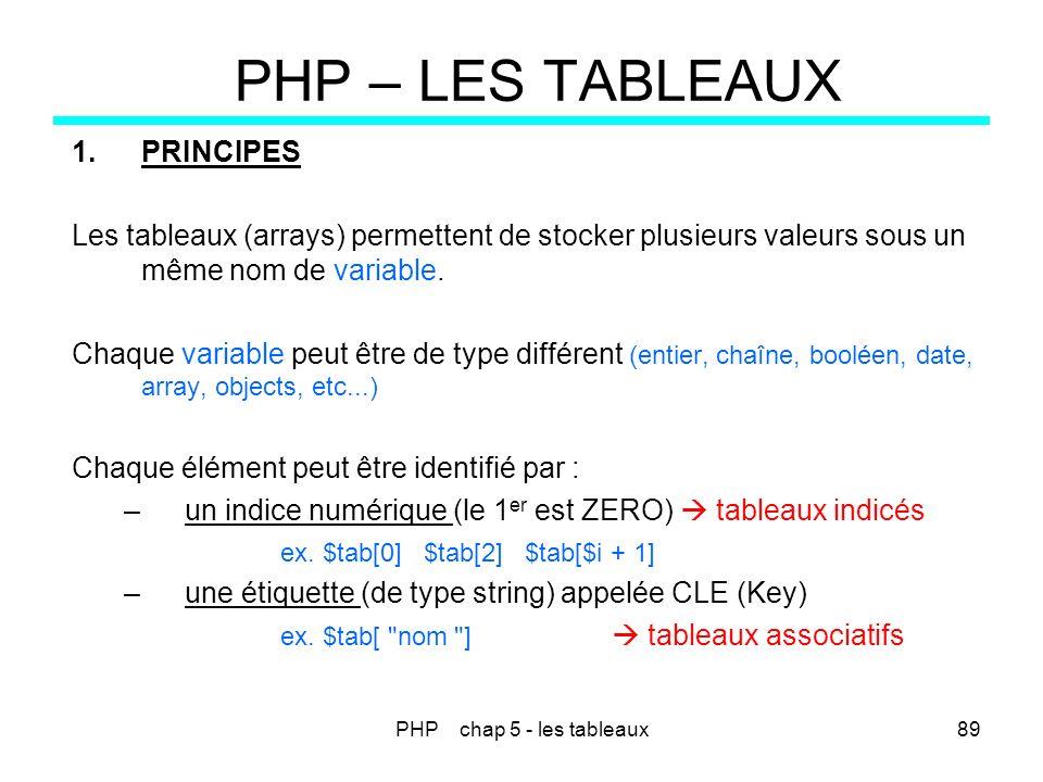 PHP chap 5 - les tableaux89 PHP – LES TABLEAUX 1.PRINCIPES Les tableaux (arrays) permettent de stocker plusieurs valeurs sous un même nom de variable.
