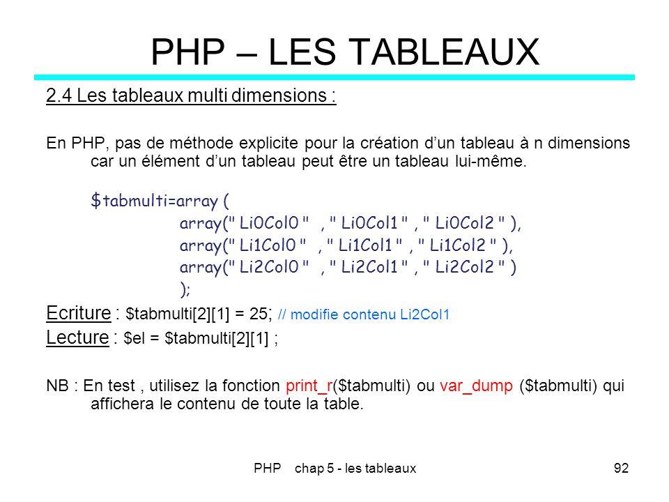 PHP chap 5 - les tableaux92 PHP – LES TABLEAUX 2.4 Les tableaux multi dimensions : En PHP, pas de méthode explicite pour la création dun tableau à n d