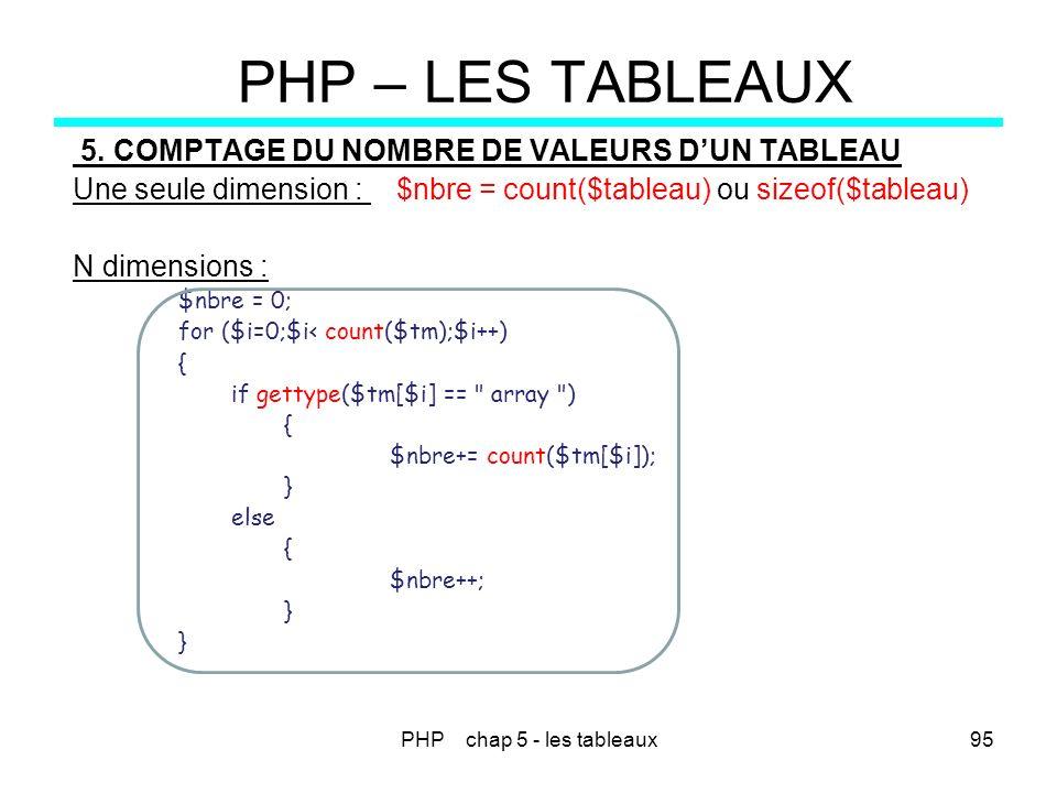 PHP chap 5 - les tableaux95 PHP – LES TABLEAUX 5. COMPTAGE DU NOMBRE DE VALEURS DUN TABLEAU Une seule dimension : $nbre = count($tableau) ou sizeof($t