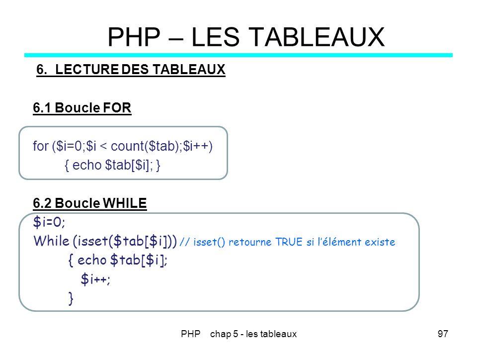 PHP chap 5 - les tableaux97 PHP – LES TABLEAUX 6.