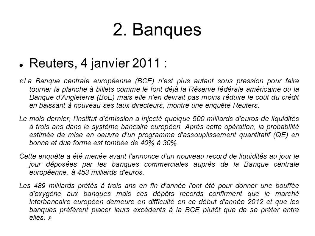 2. Banques Reuters, 4 janvier 2011 : « La Banque centrale européenne (BCE) n'est plus autant sous pression pour faire tourner la planche à billets com