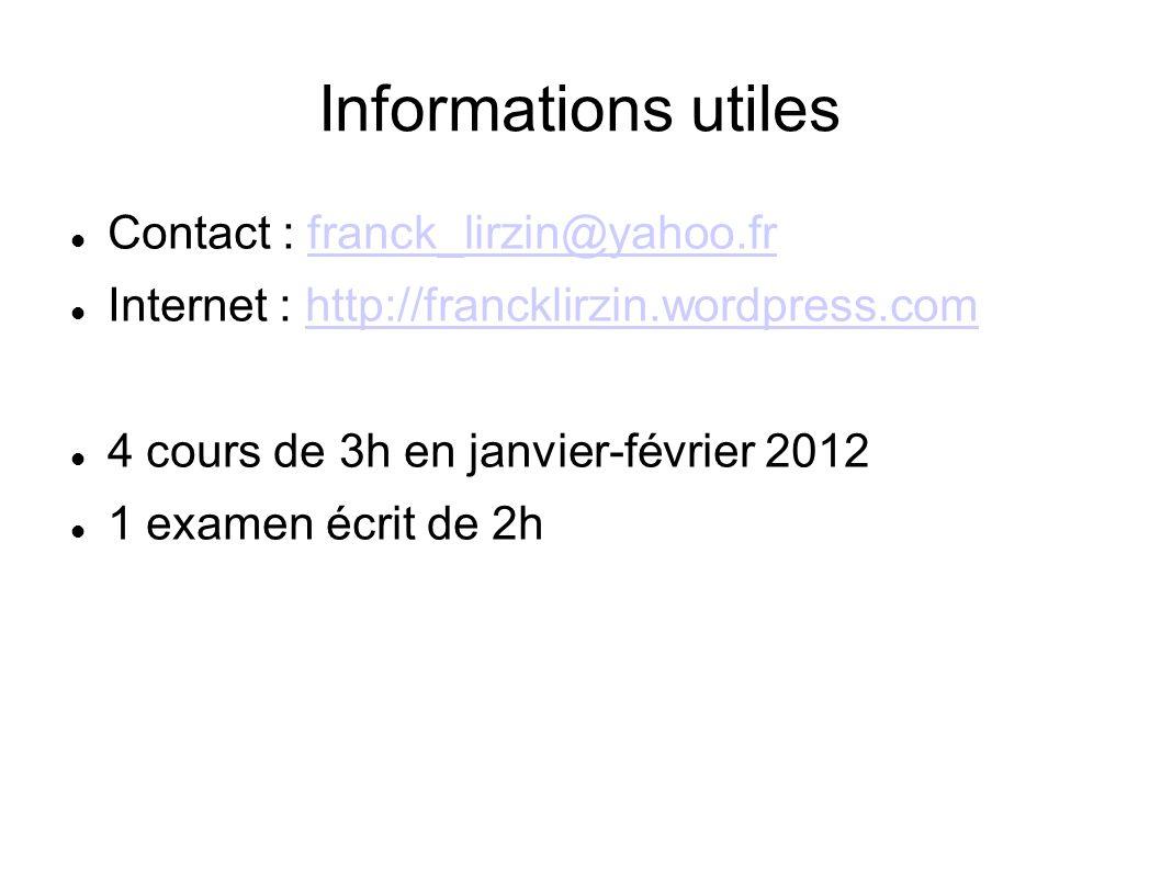 Informations utiles Contact : franck_lirzin@yahoo.frfranck_lirzin@yahoo.fr Internet : http://francklirzin.wordpress.comhttp://francklirzin.wordpress.com 4 cours de 3h en janvier-février 2012 1 examen écrit de 2h