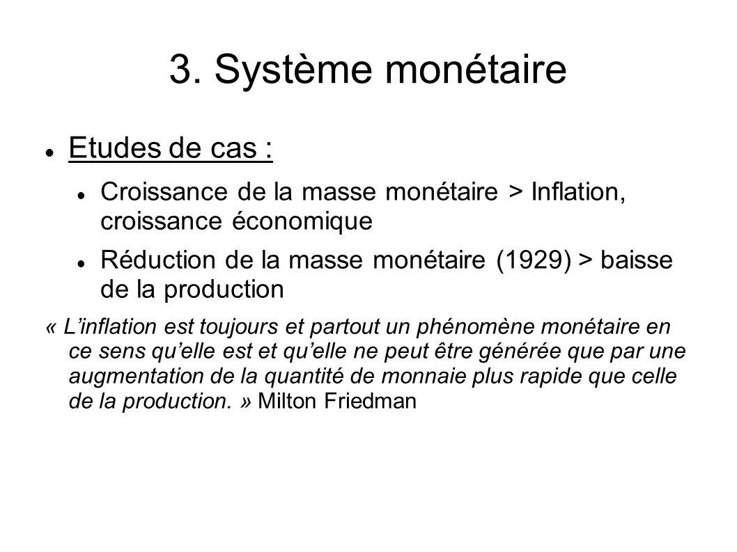 3. Système monétaire Etudes de cas : Croissance de la masse monétaire > Inflation, croissance économique Réduction de la masse monétaire (1929) > bais